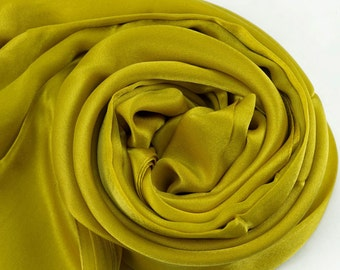 Ginger Yellow Silk Scarf - Golden Rod Silk Scarf - Silk Georgette Satin Scarf - AS253