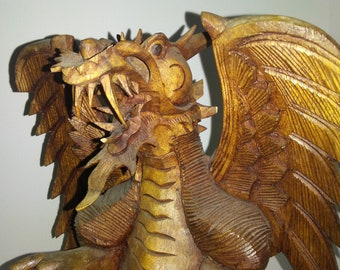 HandCarved Wooden Dragon