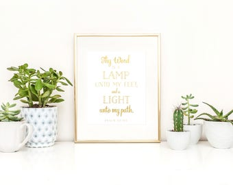 Psalm 119 Printable / Thy Word Is a Light Unto My Path Printable / Instant Digital Download