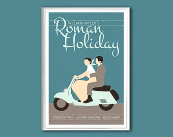 Movie poster Roman Holiday retro print in various sizes