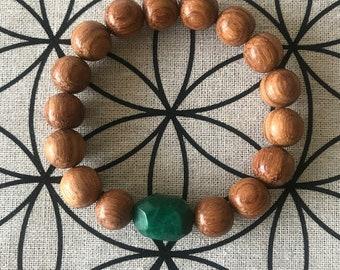 Green Jasper and Bayong Wood bracelet