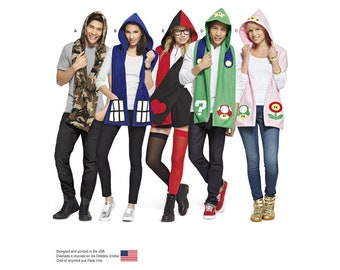 Simplicity Pattern 8194 Misses', Men's and Teens' Hooded Scarves with Appliques
