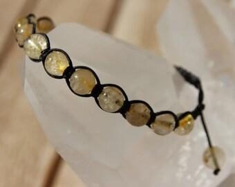 Shamballa bracelet with rutilated quartz beads