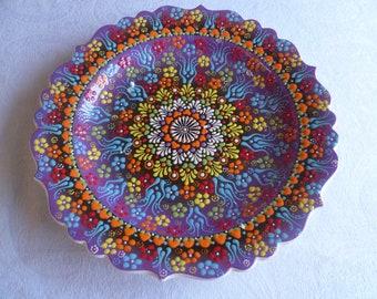 "Platter, Turkish ceramic platter, 12"" Platter, raised floral design, large plate, purple plate, serving plate, wall art, wedding gift"