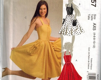 McCalls 5657 Halter Sun Dresses Sewing Pattern Sizes 4-6-8-10-12 Great for Summer