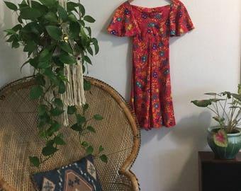 1970s Flutter Sleeve Acid Bright Dress