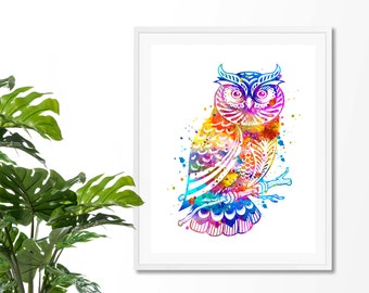 Owl #3 Watercolor Fine Art Print,  Wall  Decor, Watercolor Art Print, Owl  Art, Owl Poster