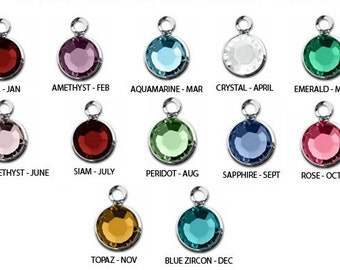 ADD ON - ONE Stainless Steel Crystal Birthstone Channel Drop Charm