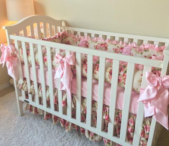 Rambling Roses Bedding Sets For Baby Girl Pink Crib Set
