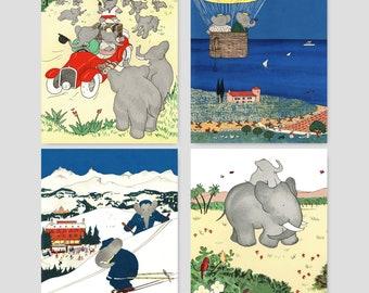 "Babar Nursery Art, Babar the Elephant Decor (Boys Bedroom Wall, Girls Room Prints, New Baby Gift Idea) ""Babar's Travels"" -- Set of 4 SALE"