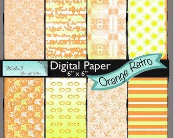 We Are 3 Digital Paper, Orange Retro
