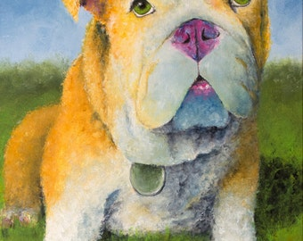 English Bulldog Puppy - Art Print of My Dog Painting. Colorful Bulldog Art. Dog Artwork. England Bulldog. Bulldog Wall Art. Dog Art Print.