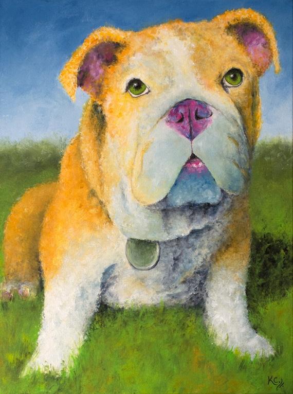 English Bulldog Puppy Art Print of My Dog Painting. Colorful