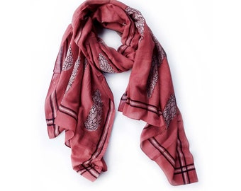 red Scarves for women SAMPLE SALE cotton silk block print scarf natural dye bohemian boho ichcha gift anniversary gift, mothers day- Cypress