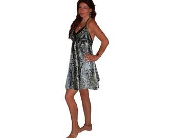 black white silky printed ART SILK DRESS top S M L 10 12 14 16 boho hippy beach