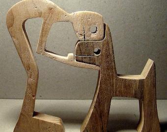"""sculpture bois chantourné """"un homme un chien"""""""