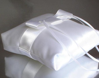 Ring Pillow, White Ring Cushion, Ring Bearer Pillow