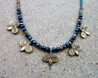 Turquoise Blue Fire Polished Glass-Brass-Swirl-Beaded-Necklace / Free US Shipping