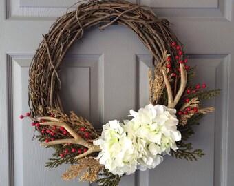 Antler Wreath - Christmas Wreath - Christmas Antler Wreath - Berry Wreath - Wreath for Front Door - Winter Wreath - Holiday Wreath - Wreath