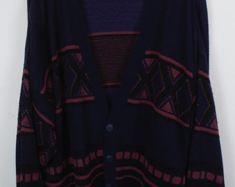Vintage Cardigan, Vintage Knitwear, 80s, 90s, blue, red, oversized