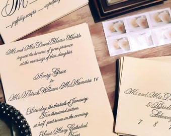 Custom Wedding Invitation Design -  Calligraphy