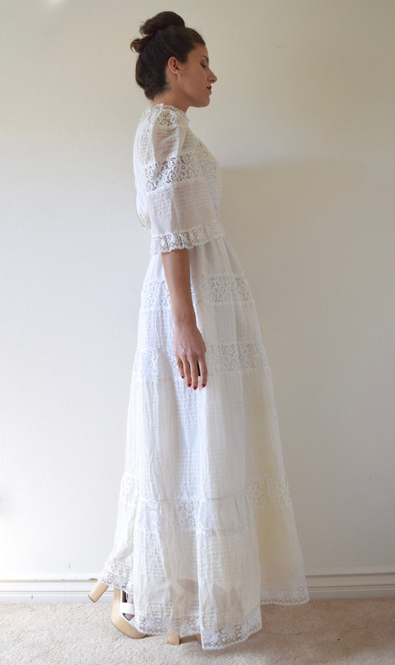 Lace Dress Vintage size Bell and 50s Sleeved Pintucked White Wedding Cotton Mexican Voile Paneled 60s small gxY6gwO