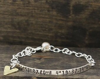 handstamped coordinates of my heart bracelet
