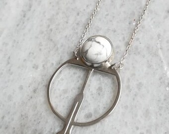 Necklace silver sterling and white howlite - FILY