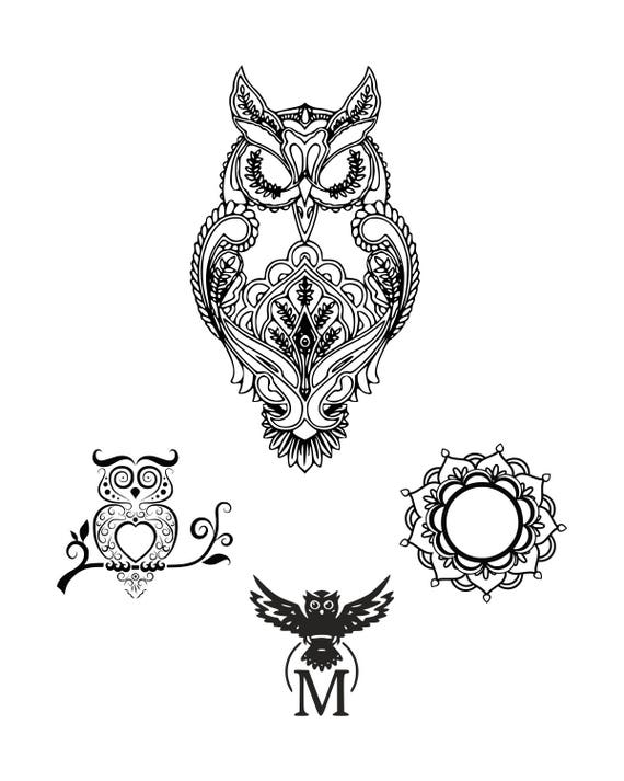 Owl Svg Mandala Owl Svg Zentangle Owl Svg Mandala Svg Digital