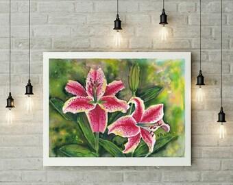 Watercolor flowers, Floral watercolor artwork, Original artwork, Aquarelle painting, Small wall art decor, Small painting, Watercolor lilies