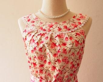 Tea Party - Pink Floral Dress Inspired Dress Vintage Style Sundress Floral Dress White Sundress Floral Bridesmaid Dress