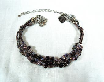 Braided Bead Bracelet - Purple