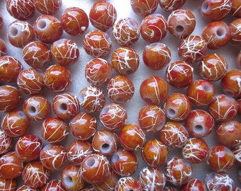 SALE - Rust Colored Acrylic Beads 10mm 20 Beads