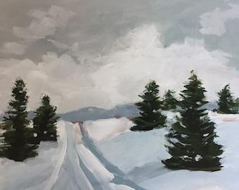 original landscape painting cabin design winter scene snow scene pine trees green and white art rustic decor