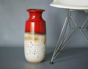 WEST GERMAN POTTERY Floor Vase, Scheurich 239 41, Vintage Retro Ceramic Floor Vase, Red Fat Lava Vase, West German Floor Vase, Made Germany