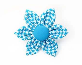 Turquoise Houndstooth Flower for Dog collar, Cat collar, collar flower, pet collar flower, wedding flower, flowers for dog collars