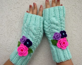 KNITTING PATTERN MITTENS - Camila Mittens - Fingerless Gloves with Crochet Flowers Winter mittens pdf Pattern Instant Download cozy mittens