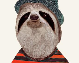 SLOTH Art Print, Sloth Illustration, Sloth Poster, Boys Room Print, Animal Print