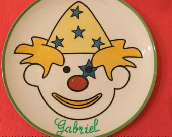 Clown: plate name child/baby blue and yellow large format