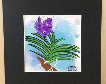 miniature 4x4 art print - Vanda Orchid