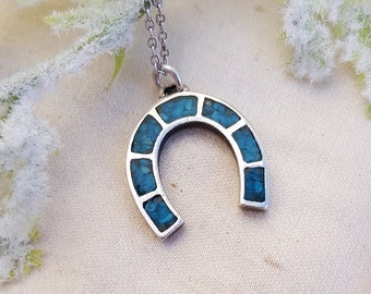 Vintage Sterling Silver Turquoise Lucky Horseshoe Amulet Pendant Necklace 925