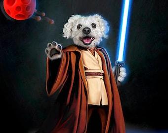STAR WARS CUSTOM Pet Portrait, Star Wars Custom Gift, Star Wars Pet, Gift for him, Star Wars Birthday, Gift Brother boyfriend husband