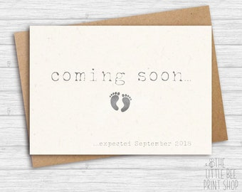 Pregnancy Announcement Card, Coming Soon Card, We're having a baby Card