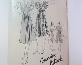 "Antique 1940's Butterick Dress Pattern #8306 - size 30"" Bust"