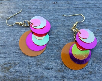 Orange and Pink Large Sequin Dangle Earrings - Handmade Lightweight Jewelry
