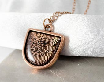 Copper Circuit Board Necklace, Recycled Computer Circuit Board Jewelry, Wearable Technology, Motherboard Necklace, Gift for Her
