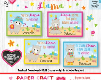 Llama Valentine Cards | Printable Classroom Valentines | Classroom Exchange Cards | By Paper Craft Valentines