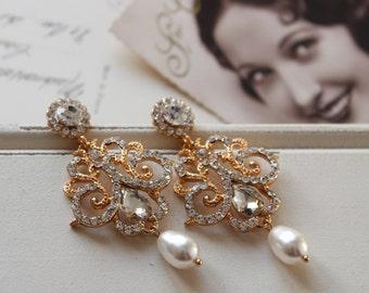 Gold Art Deco Earrings , Vintage Style Crystal  Earrings, Bridal Earrings,  Wedding Earrings,   Drop Earrings,  Stud Earrings, Great Gatsby