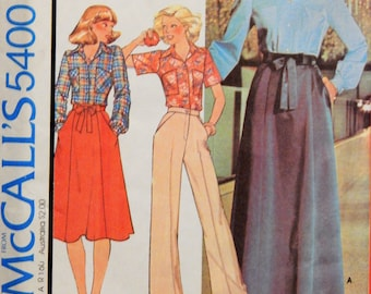 Vintage wrap skirt pattern McCall's 5400 Easy to sew back wrap skirt and shirt pattern Uncut Size 8
