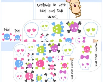 Cute Halloween Skulls themed Stickers - fits all planners!